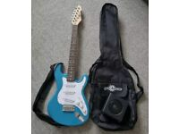 KIDS BLUE 3/4 LA ELECTRIC GUITAR WITH MINI AMP BY GEAR4MUSIC