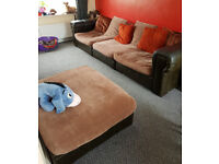 3 seater sofa/settee brown with foot stall
