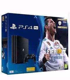 BRAND NEW BOXED SEALED PLAYSTATION4 PRO FIFA 18 1TB, JET BLACK, 1 YEAR MANUFACTURER SONY WARRANTY