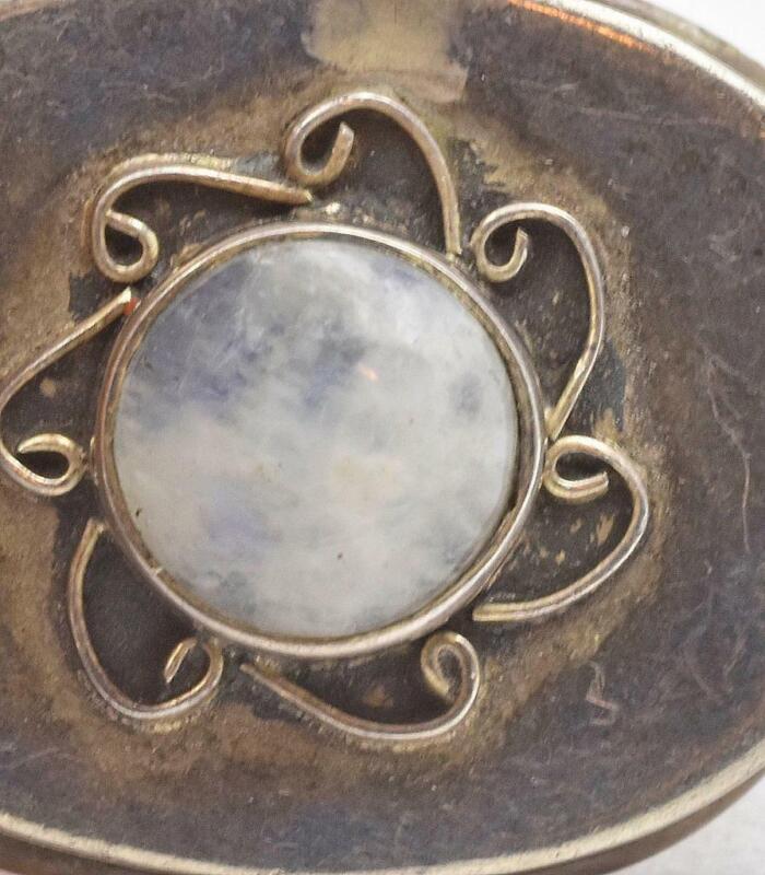 Vintage 925 Sterling Silver MEXICO Cabochon Laboradite Ladies Pill Box Mexican