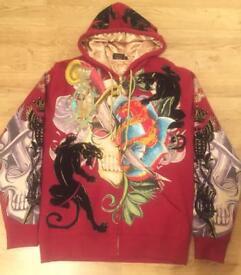 """Brand new authentic Christian Audigier men's luxury """"Skull Flower"""" designer hoodie. Large"""