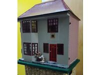 wooden, metal front triang dolls house, refurbished re painted, nice wee house please take a look.