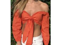 WOMENS ORANGE TIE FRONT TOP SMALL (SUMMER/BEACH/HOLIDAY)