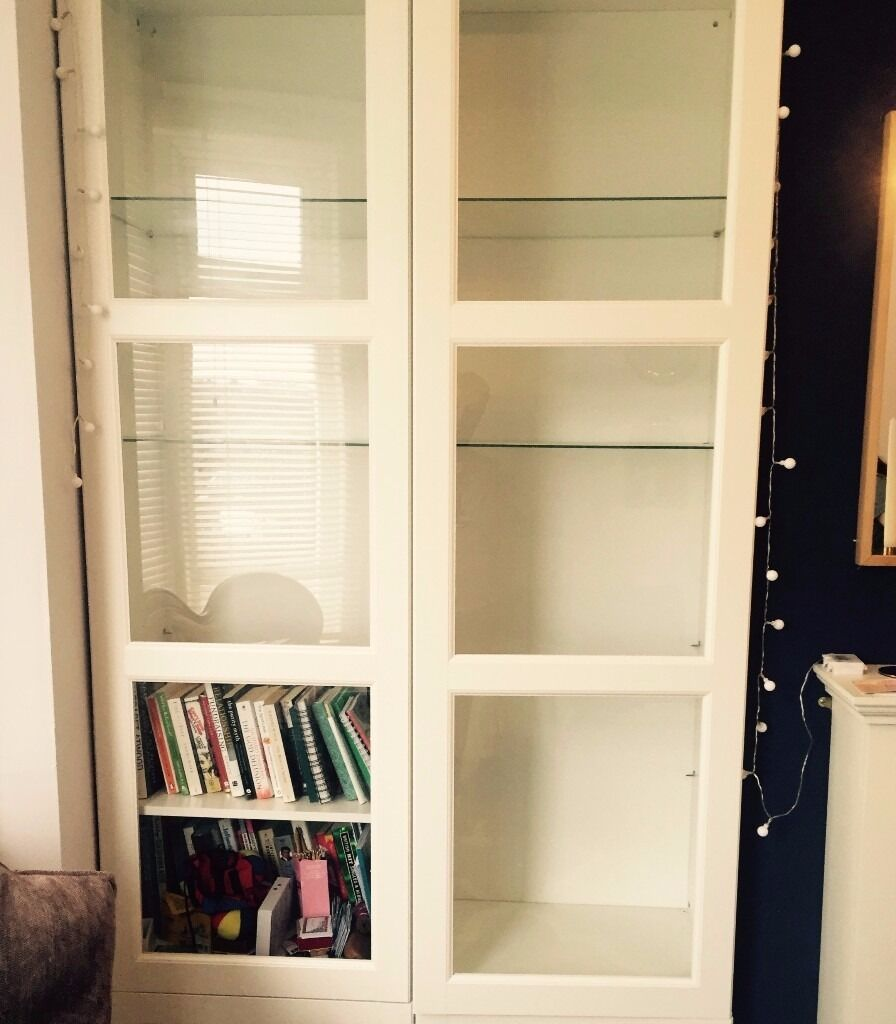 Ikea Besta White Display Cabinet / Bookshelf With Glass Doors