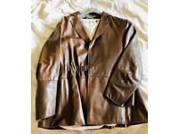 Emporio Armani Leather Jacket Brown Size 50 Immaculate Condition
