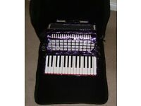 Accordion -30 key - 24 bass - purple pearl finish - with bag - Primo make - Good condition