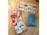 Toddler Bed Reversible Vehicle Pattern Quilt Cover, Pillowcase & Blue Fitted Sheet