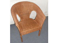 Wicker Armchair, Cane Bedroom Chair
