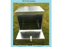 NEW POULTRY CHICKEN HEN GALVANISED ROLL AWAY EGG NEST BOX