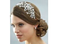Wedding Bridal Headband Rhinestone Vintage Bold Side Accent