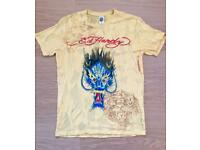 Brand new vintage Ed Hardy men's T-shirt. Yellow. Dragon design. Large. Decorated in rhinestones