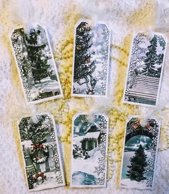 Christmas~Winter Beauty~6 Hang Tags~Scrapbook~Card's~#185~judysjemscrafts