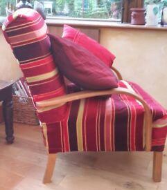 Fireside chair in red velvet