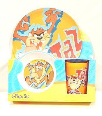 New Looney Tunes Tazmanian Devil 3 Pc. Melamin Dinnerware Set - Great Gift