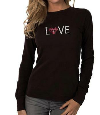 - NEW Women's Printed DIAMOND HEART LOVE Thermal Long Sleeve Crew Neck T-Shirt Top