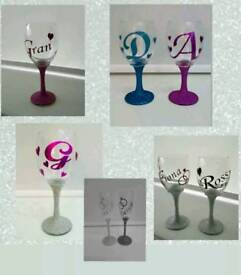 Personalised Glitter Wine or Champagne Flutes