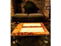 Reclaimed Victorian Wooden Door Coffee Table - Rustic Burnt Timber - Industrial Legs - 85cm x 75cm