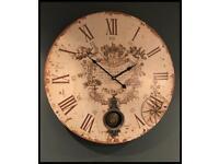 Vintage Cream Large Pendulum Wall Clock New in Box