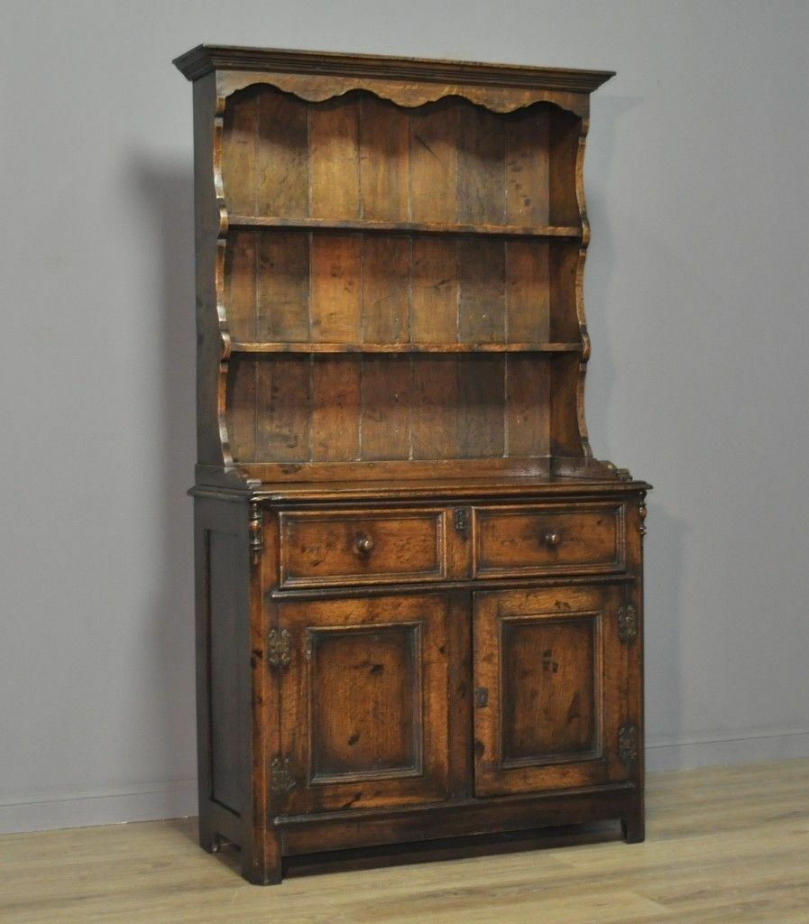 Attractive Small Antique Edwardian Oak Kitchen Dresser