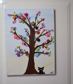 Button tree canvas art - home decor *handmade & handcrafted* Direct from Artist