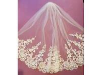 Brand New - Fingertip Length Veil with Lace Embroidery