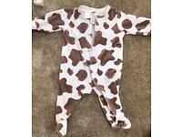 H&M cow print sleep suit 1-2 months
