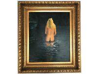 Rupert Bonham - Carter Nude Painting Oil On Canvas Signed Fine Art Guild Frame