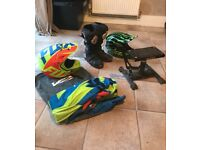 2 motorcross helmets, size 7 boots, Fox 180 kit worn with marks, bike stand for 85cc and under
