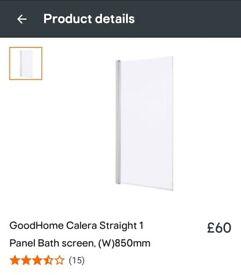 B&Q Calera Bath Shower Screen