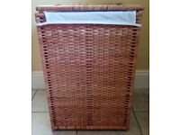 Large IKEA rattan wicker laundry basket with lining