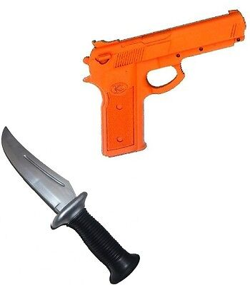 Rubber Training Practice Pistol Gun + Knife Set Police Self Defense Martial Arts