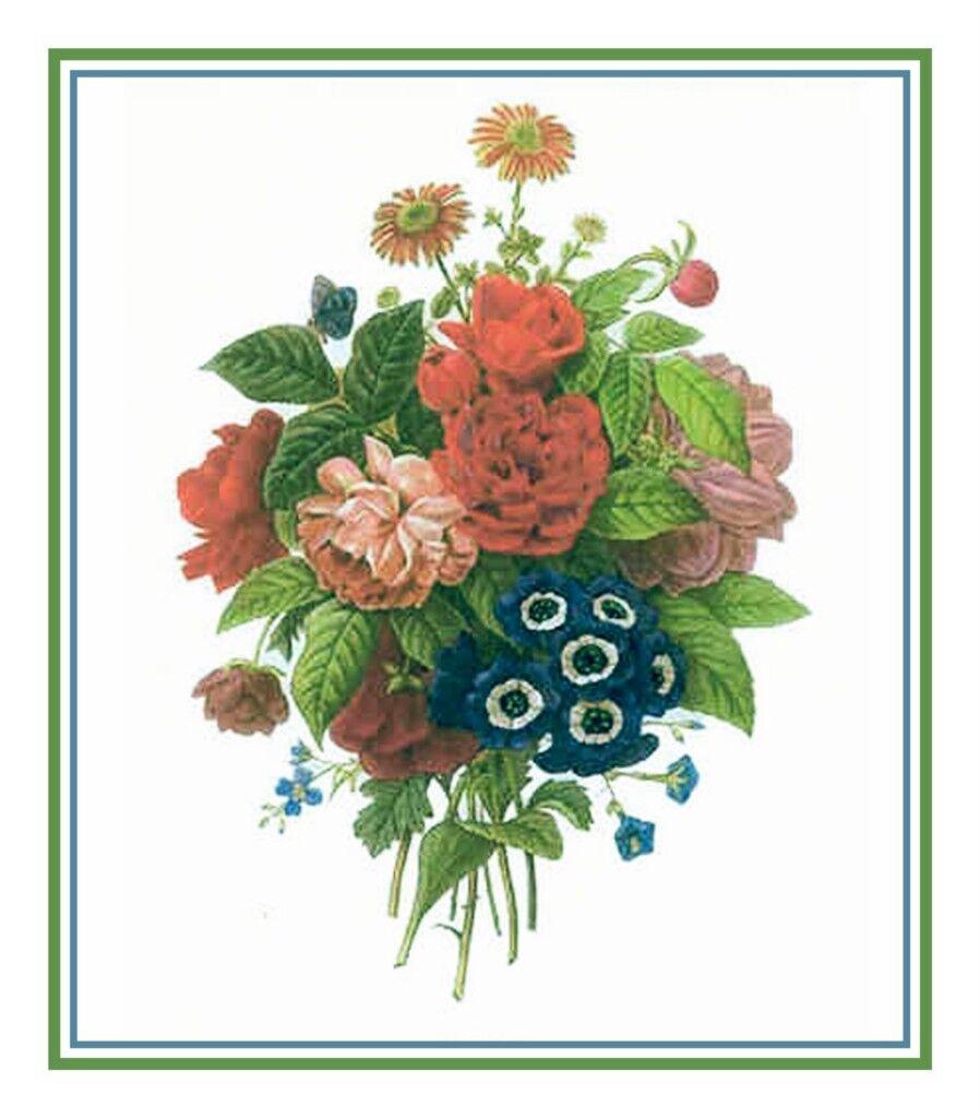 Redoute Flower Wildflower Boquet Counted Cross Stitch