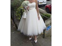 Tea lenth ivory weddin dress and size 6 wedding shoes