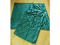 "Teal Green Wavy Patterned Shimmery Curtains Drop 53"" Each Curtain Length 63"""