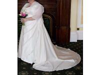 Wedding Dress - Ivory Satin - Size 30