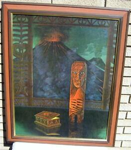 August-Holland-The-Fire-God-Hawaiian-TIki-Print-Framed-Maori-Idol-Volcano