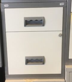 2 Drawer Filing Cabinet Silver Grey White Optional Wheels H51cm ( without wheels) W40cm x D40cm