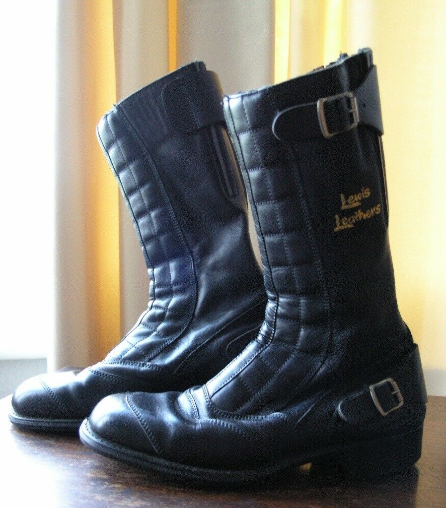 Classic vintage Lewis Leathers Road Racer black leather motorbike boots, as new
