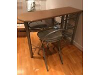 Breakfast Bar / Table and 2 Foldable Chairs Set