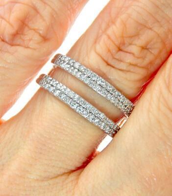 14K Oro Blanco Diamante Boda Novia Compromiso Solitario Banda Protector Anillo