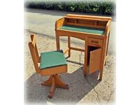 Child's vintage roll top desk and stool