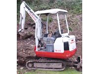 Bricklaying service - mini digger and driver service, concrete cutting/ breaking. Tree stump / roots