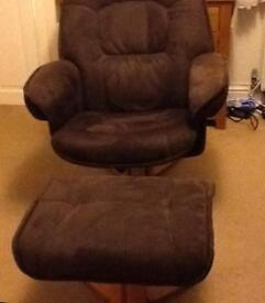 Dark brown soft suede effect chair & footstool - almost new