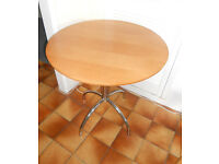 """Round """"Bistro"""" Table - Beech Finish on Chrome Stand"""
