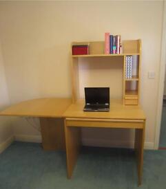 IKEA Birch Veneer Desk - including, keyboard drawer, side extension and Shelving/Hutch