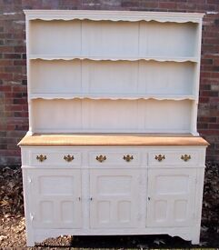 Solid Oak Welsh Dresser Shabby Chic Hand Painted Annie Sloan Old Ochre