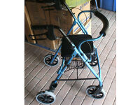 New Rollator/Walking Frame WALKER - 4 Wheels Lightweight Aluminium + Seat & Basket-Blue