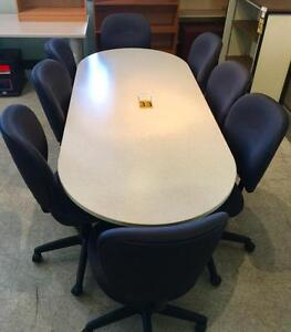 Boardroom Table - 8 Black Chairs