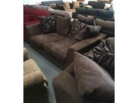 ** BROWN 3 & 2 SEATER SOFAS - CAN DELIVER **