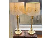 Table Lamps X 2 Gold Coloured metal with shades and bulbs.